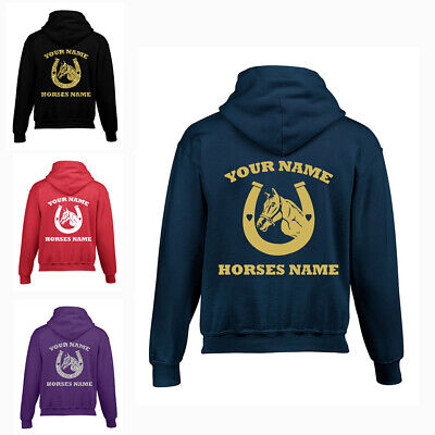 Personalised Horse Shoe Kids Riding Hoodie | Equestrian |  Girls Boys Hoodie