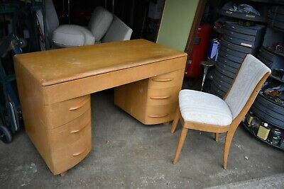MCM VTG heywood wakefield curved front desk and chair 50's blonde