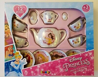 Smoby 12 Piece Official Disney Princess Porcelain Toy Tea Dinner Party Set