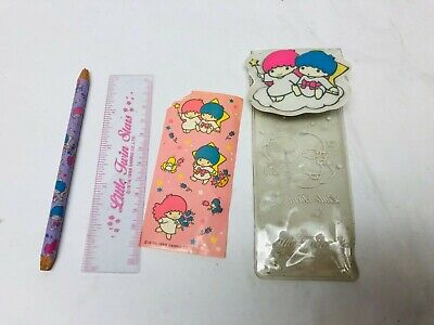 Sanrio Little Twin Stars Case Pencil Ruler Stickers Kawaii 1980s Collectible