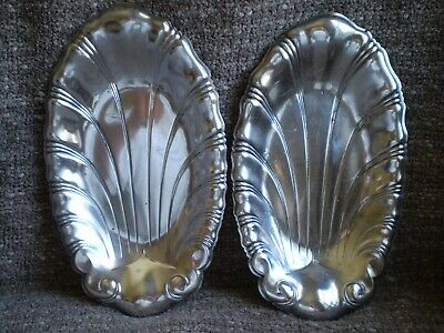 Vintage Pair of Neptune 1847 Rogers Bros. Silver Plate Palmette Candy,Pin Dishes