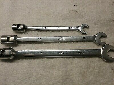 Mac Tools Open End Swivel Socket Combination Wrenches 14mm 12mm 10mm