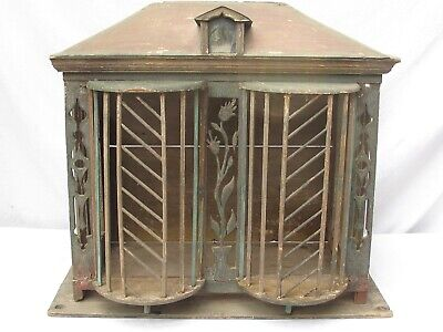 Antique Large House Folk Art Bird Cage Old Green Paint