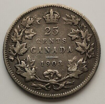 *** Canada  King  Edwards  25 Cents  1903  #2 ***  Better  Date  ***