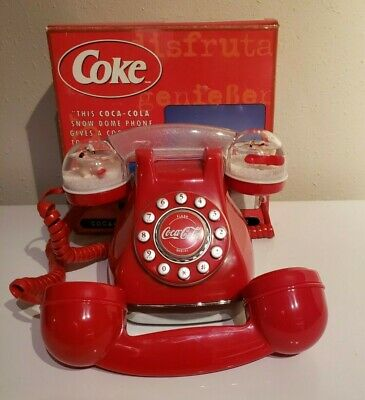 Collectible Coca-Cola Polar Bear Snow Dome Light Up Phone Two Handsets with Box