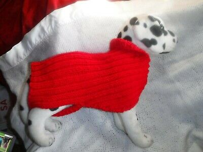 "Hand Knit Acrylic 12""  Pet Sweater -  Red - New"