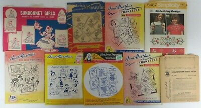 Vtg Lot AUNT MARTHA'S Hot Iron Embroidery Transfer Pattern Simplicity Kaumagraph