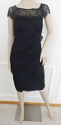 Nwt Xscape Lace Beaded  Ruched Cocktail Party Sheath Dress Sz 14 Black $199