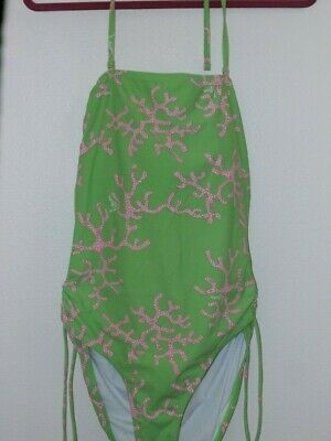Lilly Pulitzer Maternity SZ L Swimsuit Coral Me Crazy One Piece Tie Strapless