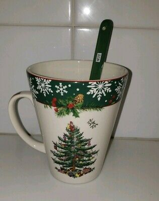 New Spode Christmas Tree Large Mug & Spoon Set