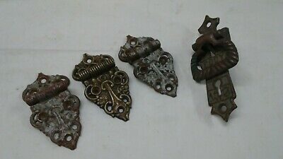 Old antique Brass EDDY Ice Box Cooler latch W/ set of 3 ornate 3/8 offset hinges