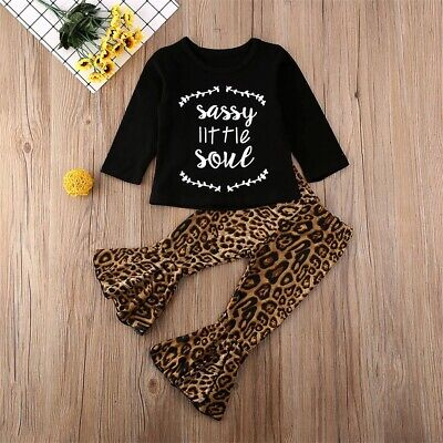 AU Toddler Kid Baby Girl T-shirt Top Flared Pants Trouser Leopard Outfit Clothes