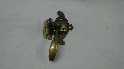 Old antique Brass Ice Box Cooler refrigerator pull handle latch catch set