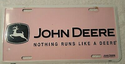 John Deere Nothing Runs Like A Deere License Plate Collectible Decor Pink