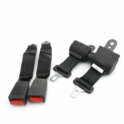 2X Fit Opel 2 Point Harness Safety Belt Seat Belt Retractable Black Universal