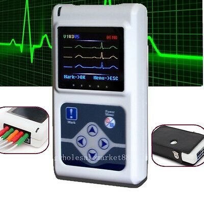 24 Hours 3-channel ECG EKG Holter System/Recorder Monitor Upgraded Software