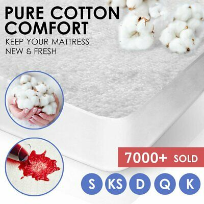 All Size Terry Cotton Fully Fitted Waterproof Mattress Protector Bed Soft Cover
