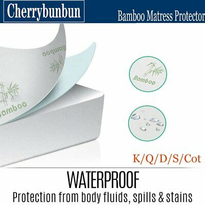 All Size Fully Fitted Bamboo Fibre Waterproof Mattress Protector Cover Summer AU