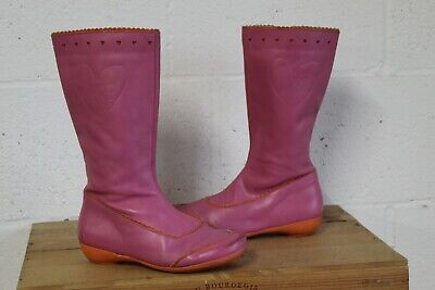 Girls Pink Leather Boots Size 2.5 / 35 By Agatha Ruiz De La Prada Used Condition