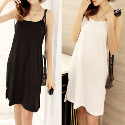 Plus Size Summer Women Solid Color Loose Sleeveless Camisole Underdress Amid