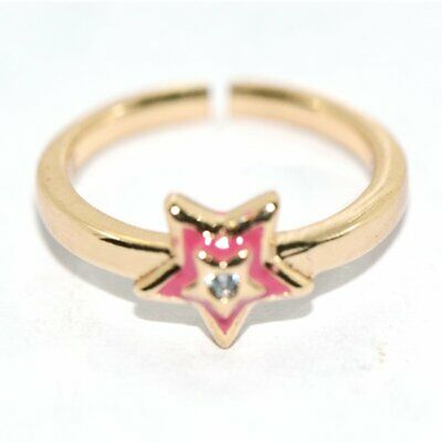 Safety Girls Childrens Kids Toddler Baby Star Open Ring Gold Filled Pink Size 3