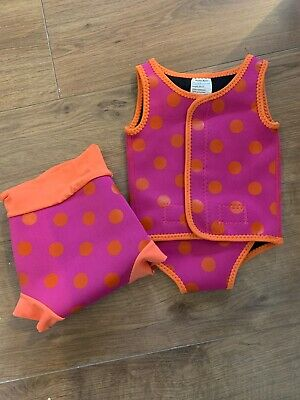 Baby wetsuit and swim nappy. Pink and orange spotty 0-6m