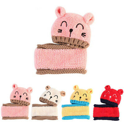 Baby winter Hat and Scarf Set Cap Embroidery Cat earmuffs Warm Hat