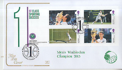 2013 Cotswold First Day Cover Andy Murray Wimbledon Mini Sheet Special Cancel a