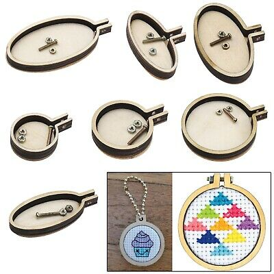7pcs Embroidery Wood Frame Pendants for Jewelry Making DIY Handmade Craft