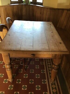 Victorian Old Pine Planked Farmhouse Kitchen Table