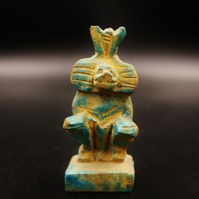 Ancient Egypt, Antique Egyptian Faience Baboon Amulet Figurine