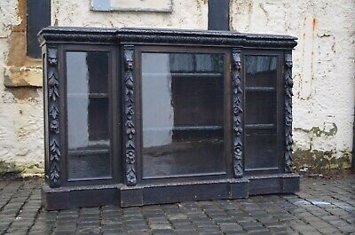Victorian Ebonised & Heavily Carved Large Wooden Green Man Bookcase Credenza