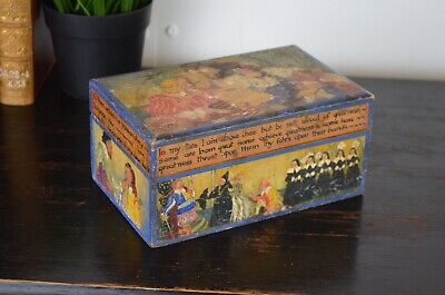 Hand Painted Folk Art Wooden Box With Scenes From Shakespeares Twelfth Night