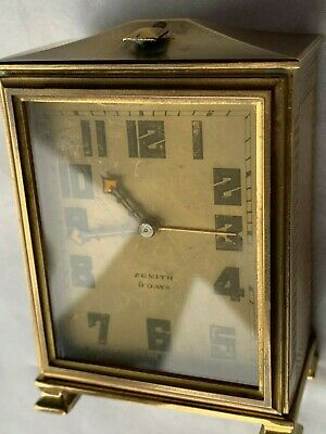 Vintage Art Deco Large Zenith Alarm  Carriage Clock 8 Day Spares or Repair.