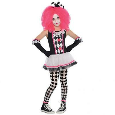 Girls Pink Harlequin Clown Fancy Dress Costume Circus Gothic Tea Party Book Day