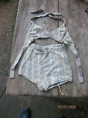 "Vintage ""Leaf Pattern"" Bikini Bathing Suit From Old Store Stock  1950-60"