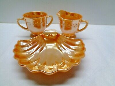 Vintage Fire King Peach Luster Laurel Sugar & Creamer & Shell Dish MINT