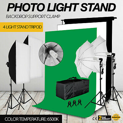 Photography Umbrella Continuous Lighting Softbox Screen Backdrop Light Stand Kit