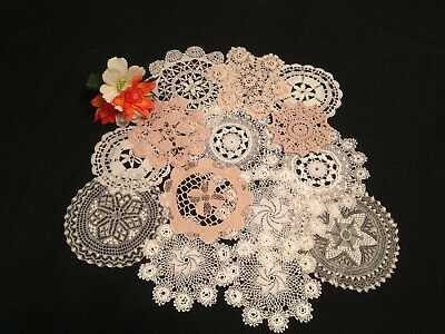 Collection Of Antique Vintage Hand Worked Doilies 14  ~ Beautiful Lace Designs