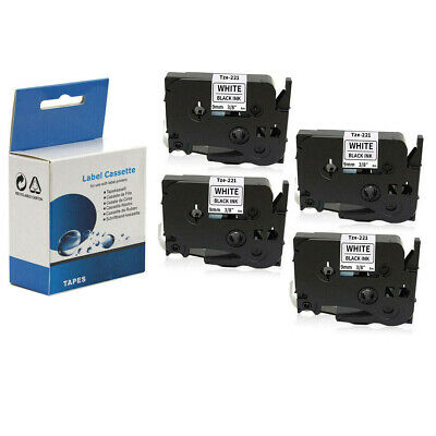 """4 PACK Label Tape 9mm 3/8"""" Compatible with Brother TZ 221 Tze221 P-Touch PT-D210"""