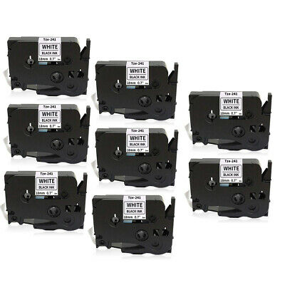 """8 PACK Label Tape 18mm 3/4"""" Compatible with Brother TZ241 Tze241 P-Touch PT-D400"""