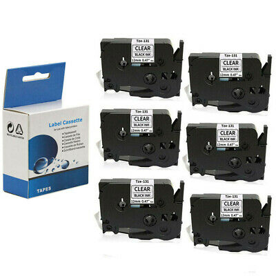 "6 Pack Label Tape 12mm 0.47"" Clear Compatible with Brother TZ131 Tze131 P-Touch"