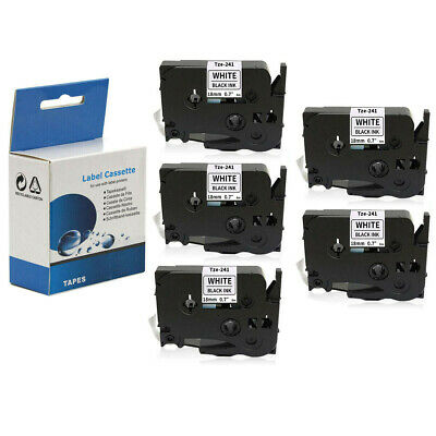 """5 PACK Label Tape 18mm 3/4"""" Compatible with Brother TZ241 Tze241 P-Touch PT-D400"""