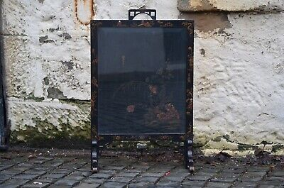 1920s Art Deco Ebonised Black Chinoiserie Hand Painted Fire Screen