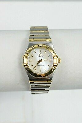 Omega Constellation Ladies Watch Mother Of Pearl Dial Gold Bezel Stainless Steel