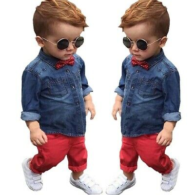 Toddler Kids Baby Boys Jeans Jacket Tops Pants Ches Outfit Sets 3-8T