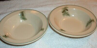 """SYRACUSE CHINA PINE CONE PATTERN 2 Soup or Salad Bowls~~Tan Colored~~6 3/8 """""""