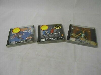 3 Playstation one PS1 games Dave Mirra freestyle BMX Gran Turismo Tomb Raider