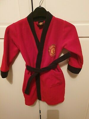 Boys Kids Official Manchester United Red Fleece Dressing Gown Man Utd age 3-4