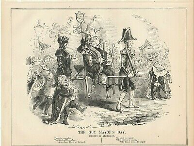 1844 Punch Cartoon The Guy (Fawkes) Mayor of London's Day.
